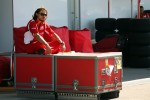 A Ferrari mechanic takes a break