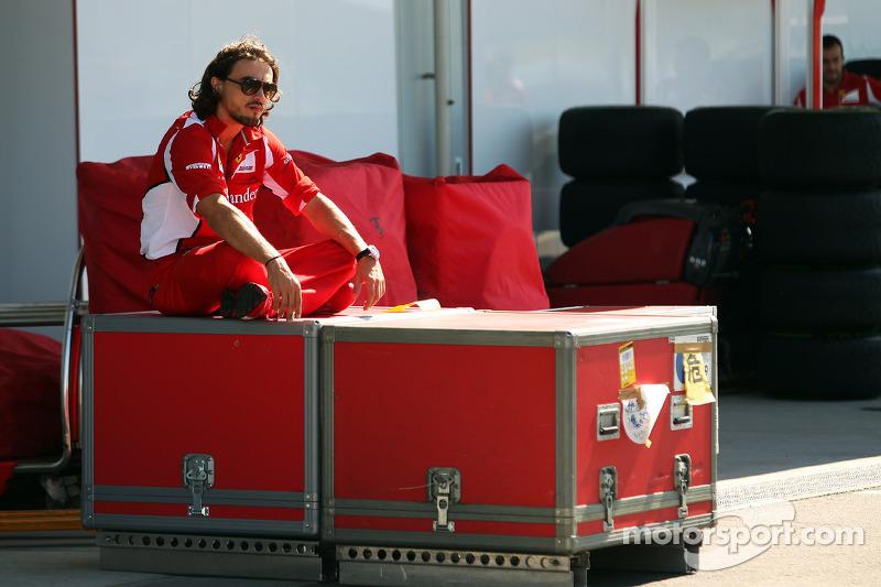 A Ferrari mechanic takes a break