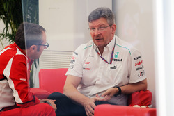 Stefano Domenicali, Ferrari General Director with Ross Brawn, Mercedes AMG F1 Team Principal