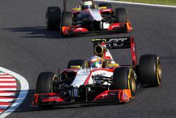 Narain Karthikeyan, HRT Formula One Team HRT leads team mate Pedro De La Rosa, HRT Formula 1 Team