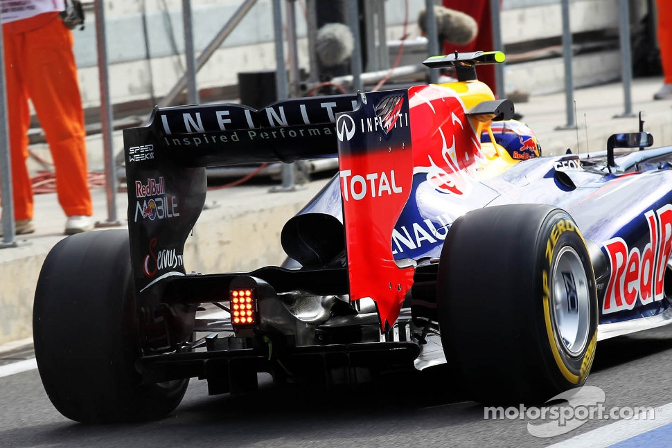Mark Webber, Red Bull Racing rear wing and exhaust detail