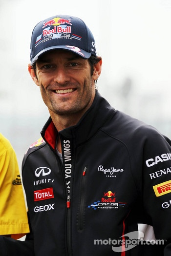 Mark Webber, Red Bull Racing celebrates 200 pole positions for Renault in F1
