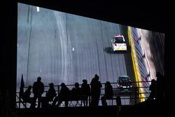 Fans watch the big screen