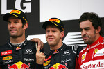 Mark Webber, Red Bull Racing, Sebastian Vettel, Red Bull Racing and Fernando Alonso, Scuderia Ferrari