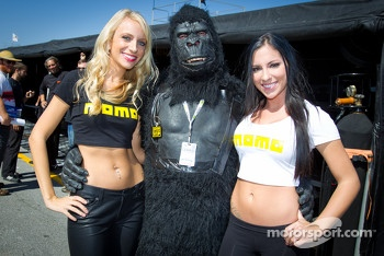 The charming Momo girls with a happy gorilla