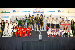Class winners podium: P1 winners Andrea Belicchi, Neel Jani, Nicolas Prost, P2 winners Scott Tucker, Dario Franchitti, Marino Franchitti, PC winners Alex Popow, Ryan Dalziel, Mark Wilkins, GT winners Scott Sharp, Johannes van Overbeek, Toni Vilander, GTE-