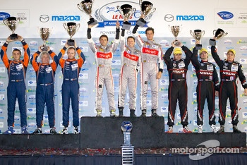 ELMS LMP podium: class winners Mathias Beche, Pierre Thiriet, Christophe Tinseau, second place Jacques Nicolet, Bertrand Baguette, Olivier Pla, third place Alex Brundle, Alex Buncombe, Tom Kimber-Smith