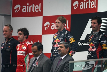 Sebastian Vettel, Red Bull Racing, Fernando Alonso, Scuderia Ferrari and Mark Webber, Red Bull Racing
