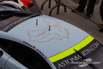 Map of China on top of #97 Aston Martin Racing Aston Martin Vantage V8