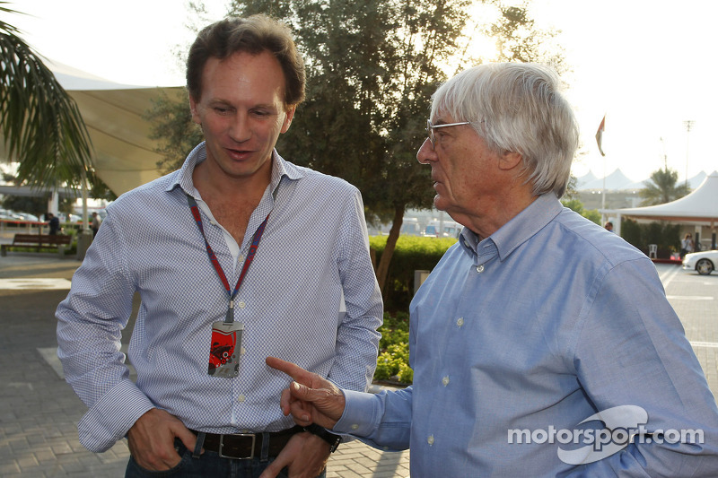 Christian Horner, Red Bull Racing Team Principal with Bernie Ecclestone, CEO Formula One Group