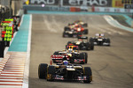 Daniel Ricciardo, Scuderia Toro Rosso leads Sebastian Vettel, Red Bull Racing behind the Safety Car