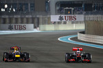 Sebastian Vettel, Red Bull Racing overtake Jenson Button, McLaren Mercedes for third place