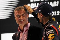 David Coulthard, Red Bull Racing and Scuderia Toro Advisor / BBC Television Commentator with Sebastian Vettel, Red Bull Racing on the podium
