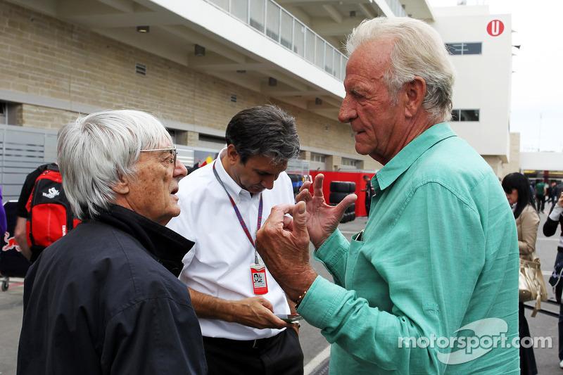 Bernie Ecclestone, CEO Formula One Group, with John Button