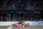 Cale Gale, Eddie Sharp Racing Chevrolet takes the checkered flag in front of Kyle Busch, Kyle Busch Motorsports Toyota