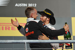 Podium: race winner Lewis Hamilton, McLaren Mercedes, celebrates with team manager Martin Whitmarsh