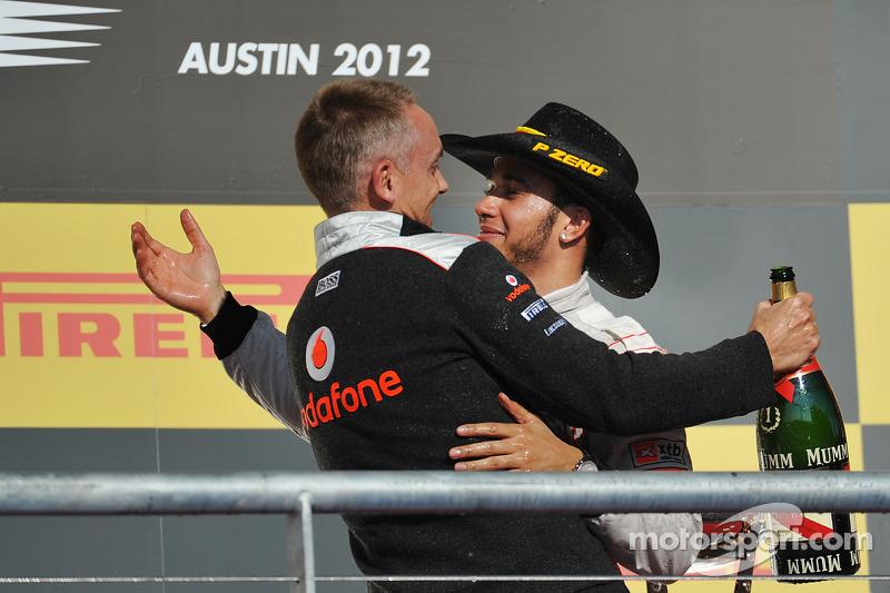 Podium: race winner Lewis Hamilton, McLaren Mercedes, celebrates with team manager Martin Whitmarsh