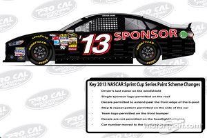 The official sponsor and decal placements for the 2013 Ford Fusion