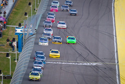 Brian Scott, Joe Gibbs Racing Toyota leads a group of cars