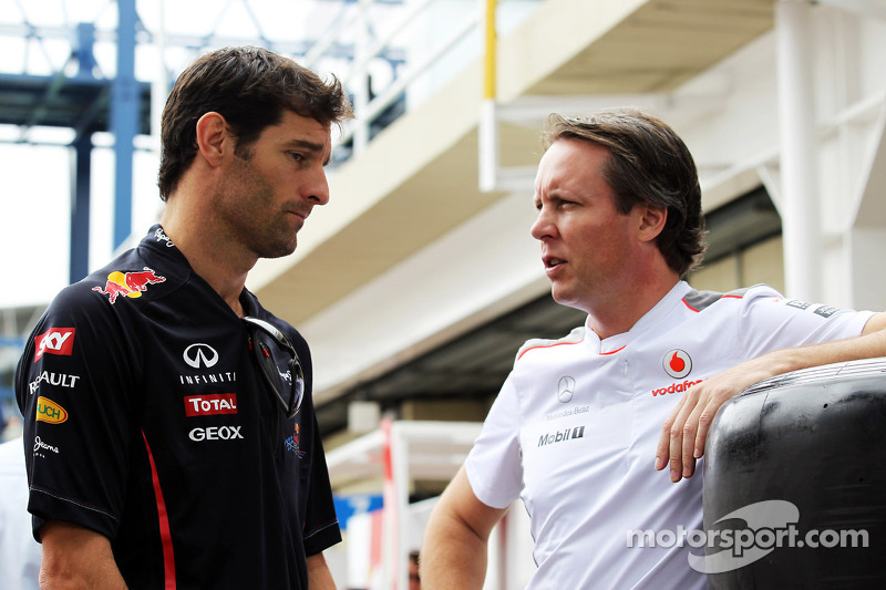 Mark Webber, Red Bull Racing with Sam Michael, McLaren Sporting Director