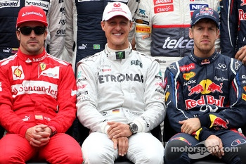 Fernando Alonso, Scuderia Ferrari, Michael Schumacher, Mercedes GP and Sebastian Vettel, Red Bull Racing