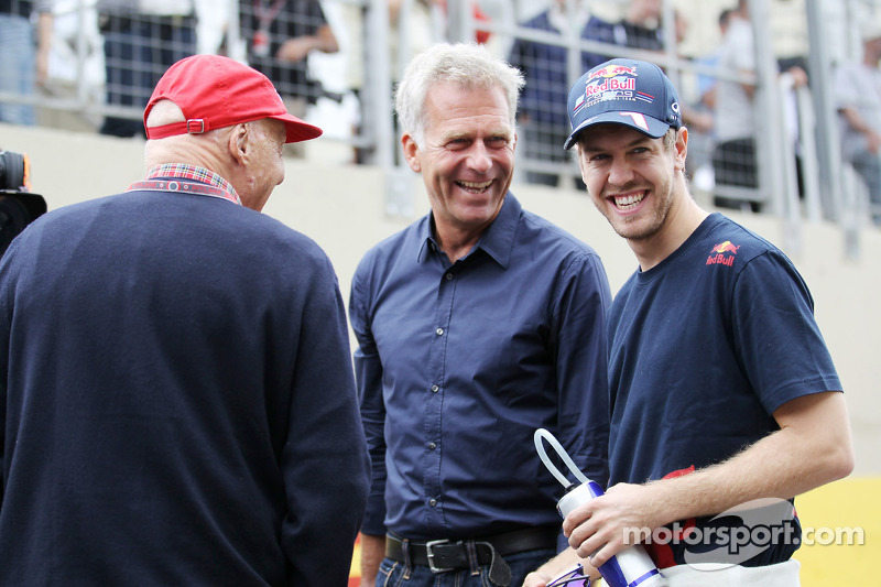 Niki Lauda, Mercedes Non-Executive Chairman with Christian Danner, and Sebastian Vettel, Red Bull Racing