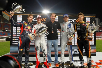 Second place Sébastien Ogier and Romain Grosjean with first place Sebastian Vettel and Michael Schumacher
