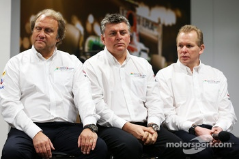 Bob Fernley, Sahara Force India F1 Team Deputy Team Principal with Otmar Szafnauer, Sahara Force India F1 Chief Operating Officer and Andrew Green, Sahara Force India F1 Team Technical Director