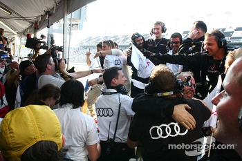 The Audi Sport Customer Racing/Alex Job Racing team celebrates the GT win