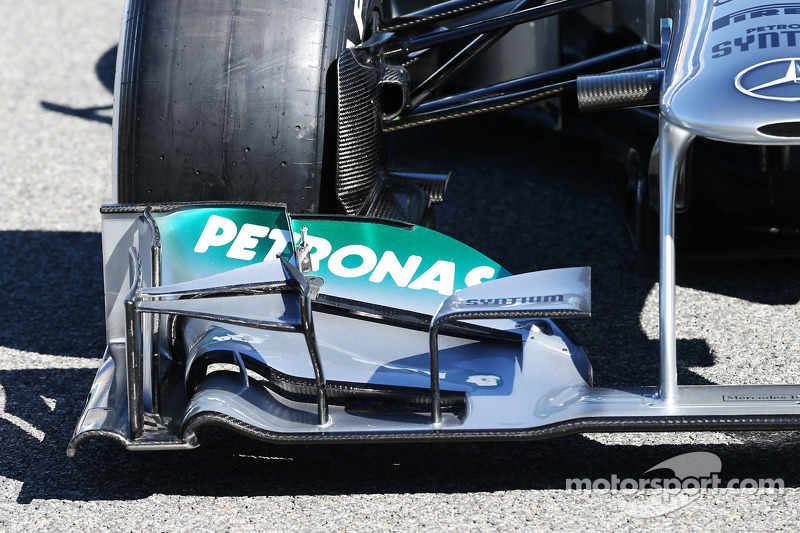 The new Mercedes AMG F1 W04 front wing detail
