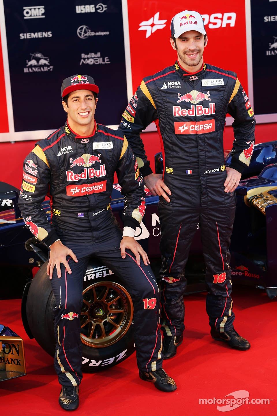 Jean-Eric Vergne, Scuderia Toro Rosso and team mate Daniel Ricciardo, Scuderia Toro Rosso with the new Scuderia Toro Rosso STR8