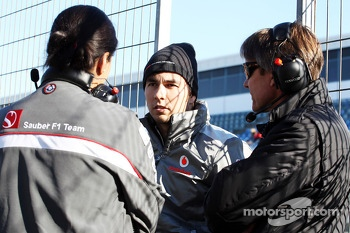 Monisha Kaltenborn, Sauber Team Principal with Sergio Perez, McLaren and Tony Fernandes, Caterham Team Principal