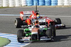 James Rossiter, Sahara Force India F1 VJM06 Simulator Driver leads Felipe Massa, Ferrari F138