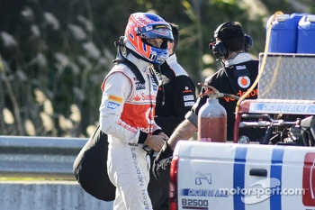 Jenson Button, McLaren after stopping on the circuit