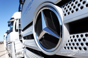 Mercedes badge on a truck in the paddock