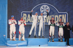Podium: winners Sébastien Ogier and Julien Ingrassia, second place Sébastien Loeb and Daniel Elena, third place Mads Ostberg and Jonas Andersson