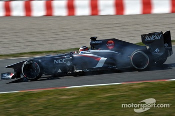 Nico Hulkenberg, Sauber C32 locks up under braking