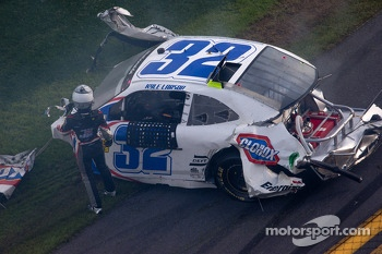 Kyle Larson out of his car