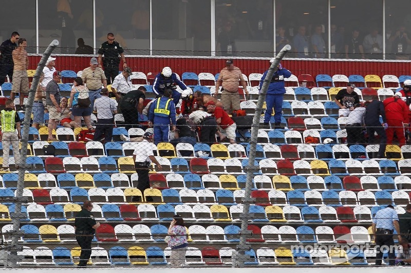 Emergency workers tend to fans