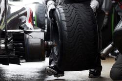 Esteban Gutierrez, Sauber C32 practice pit stop