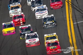 Tony Stewart leads Sam Hornish Jr. and Joe Nemechek