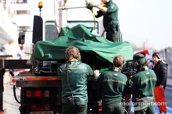 Caterham CT03 of Giedo van der Garde, Caterham is recovered back to the pits on the back of a truck