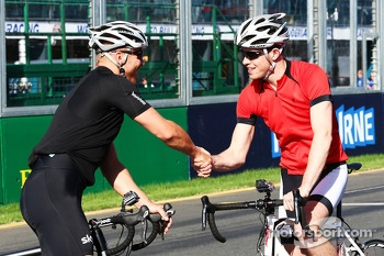 Sir Chris Hoy, Olympic Track Cycling Champion with Paul di Resta, Sahara Force India F1