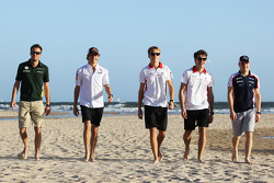 Rookie drivers on the beach, Giedo van der Garde, Caterham F1 Team; Esteban Gutierrez, Sauber; Max Chilton, Marussia F1 Team; Jules Bianchi, Marussia F1 Team; Valtteri Bottas