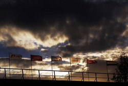 Flags as the sun sets