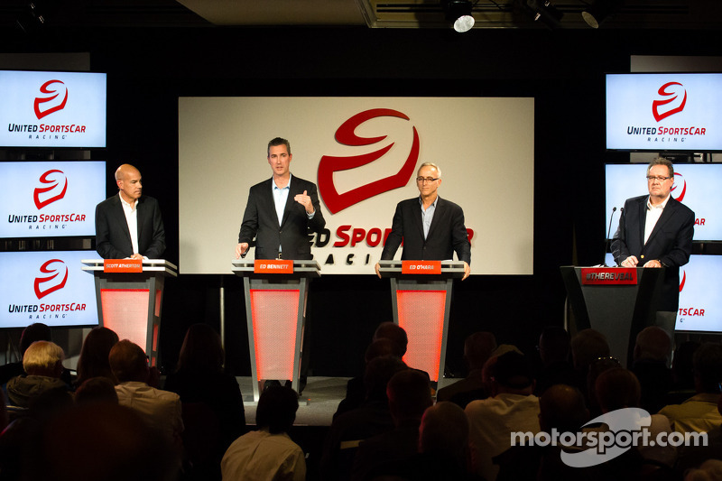 Unified Sports Car Series press conference: American Le Mans Series President and CEO Scott Atherton, GRAND-AM President and CEO Ed Bennett, SME Branding Ed O'Hara