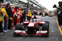 Fernando Alonso, Ferrari F138 enters parc ferme