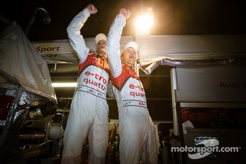 Race winners Oliver Jarvis and Marcel Fässler celebrate