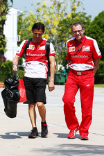 Pedro De La Rosa, Ferrari Development Driver with Stefano Domenicali, Ferrari General Director