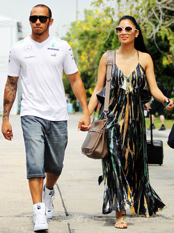 Lewis Hamilton, Mercedes AMG F1 with his girlfriend Nicole Scherzinger, Singer